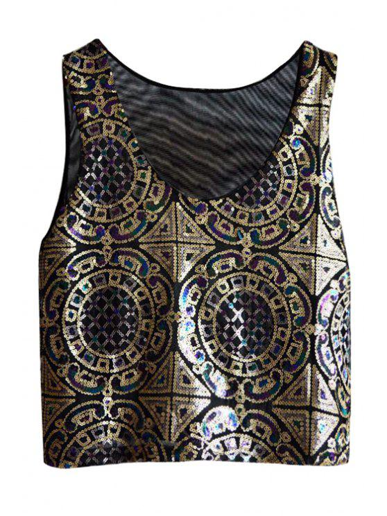womens Ethnic Pattern Sequins Tank Top - BLACK ONE SIZE(FIT SIZE XS TO M)