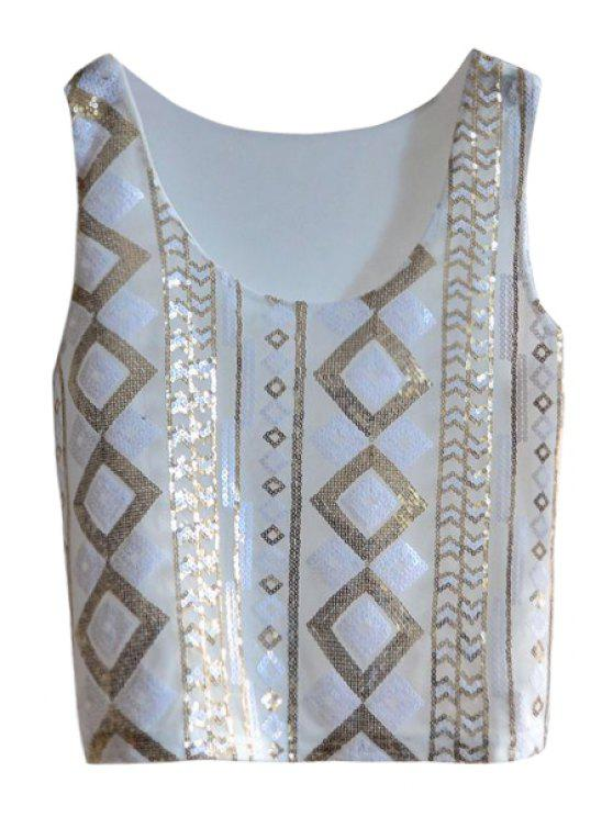 online Argyle Pattern Sequins Tank Top - WHITE ONE SIZE(FIT SIZE XS TO M)