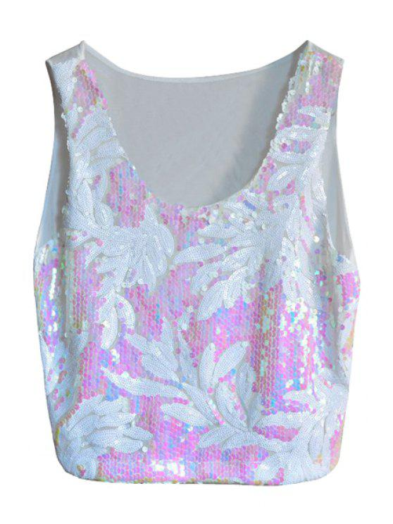 fancy White Leaf Sequins Tank Top - WHITE ONE SIZE(FIT SIZE XS TO M)