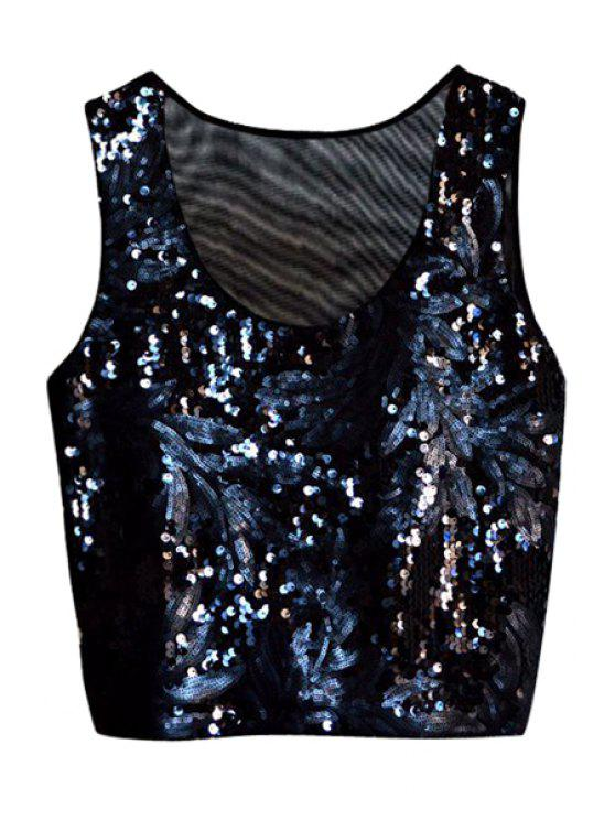 affordable Leaf Black Sequins Tank Top - BLACK ONE SIZE(FIT SIZE XS TO M)