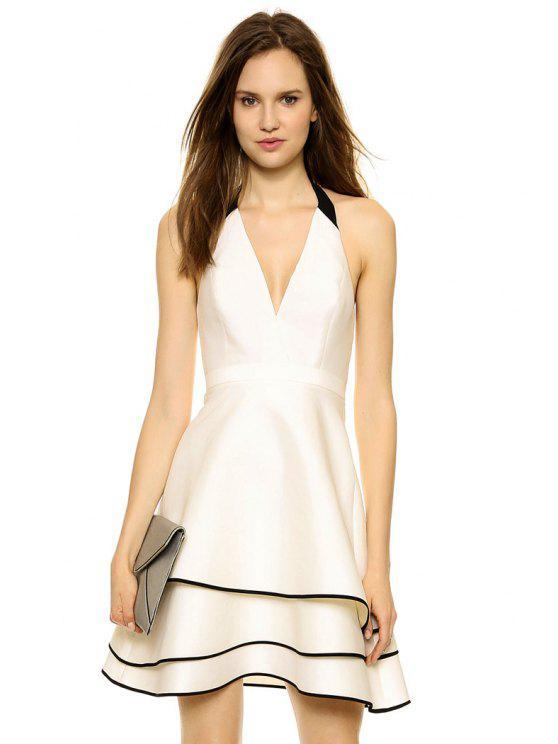 affordable Halter Color Block A-Line Dress - WHITE S