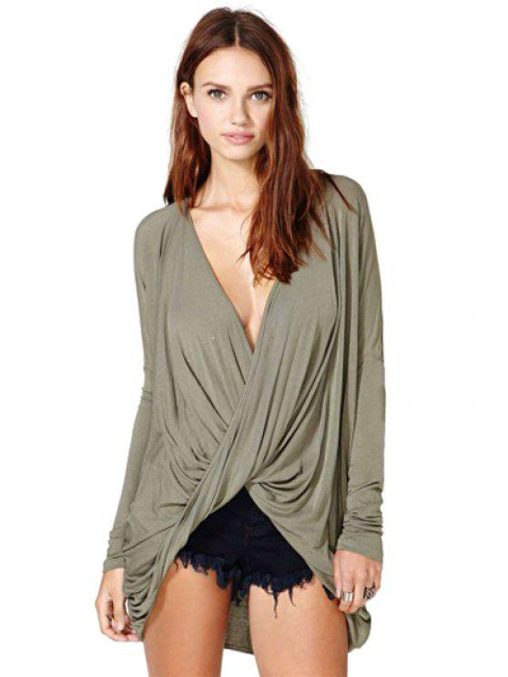 fancy Solid Color Plunging Collar T-Shirt - ARMY GREEN S