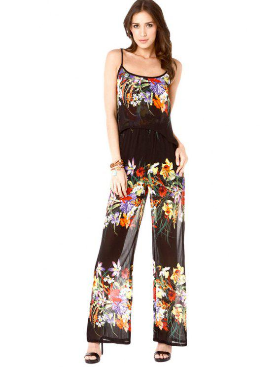 outfit Spaghetti Strap Floral Print Backless Jumpsuit - BLACK XS