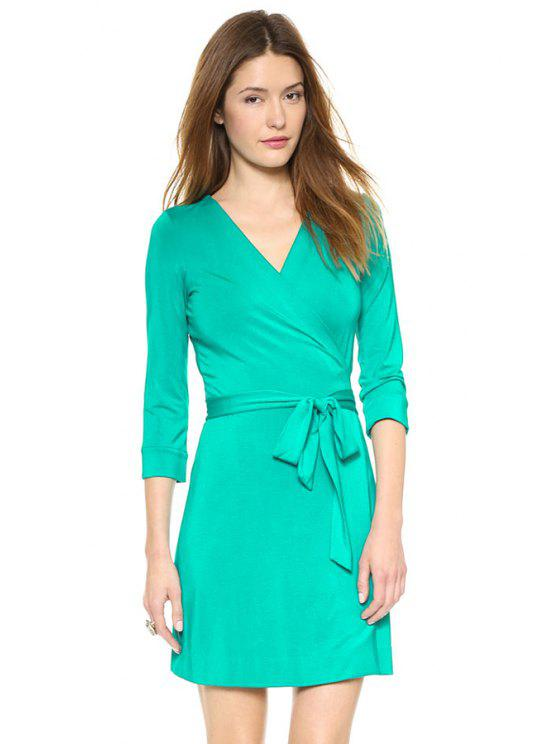 latest Solid Color 3/4 Sleeve Self-Tie Dress - GREEN XL
