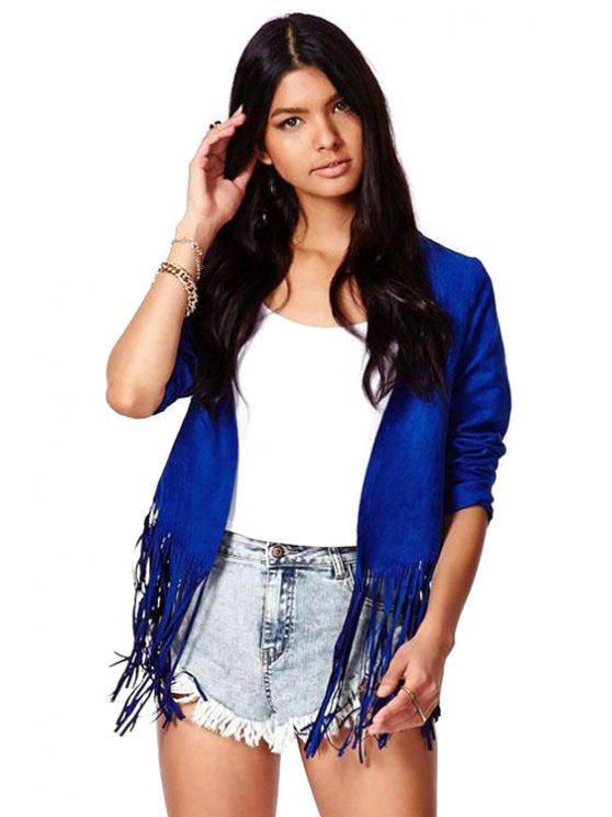 fancy Solid Color Tassel Splicing Jacket - BLUE S