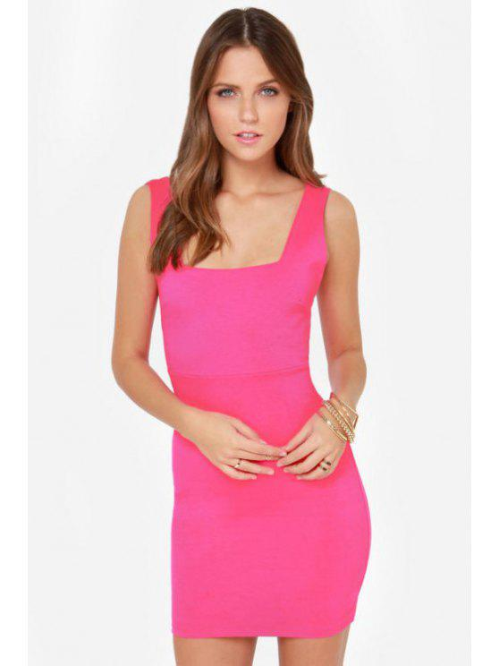 best Square Neck Backless Solid Color Dress - PINK XS