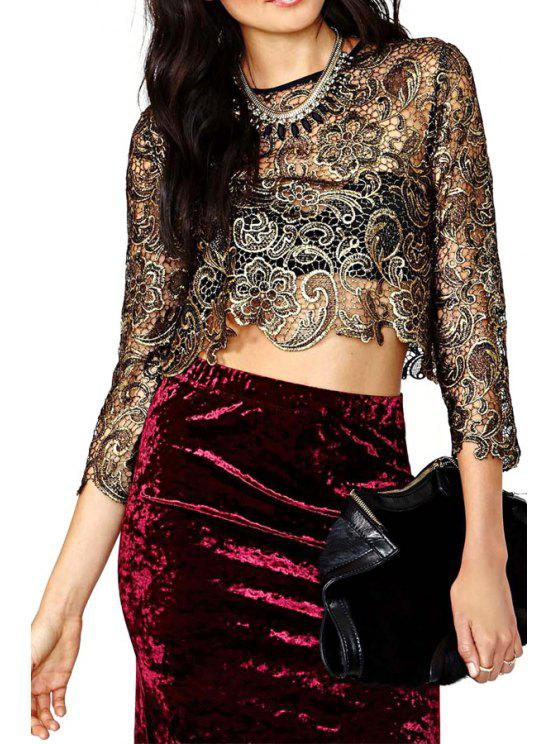fancy Embroidery Hollow 3/4 Sleeve Blouse - LIGHT GOLD S