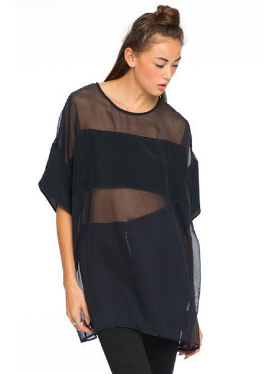 shop Half Sleeve Voile Splicing T-Shirt - BLACK L