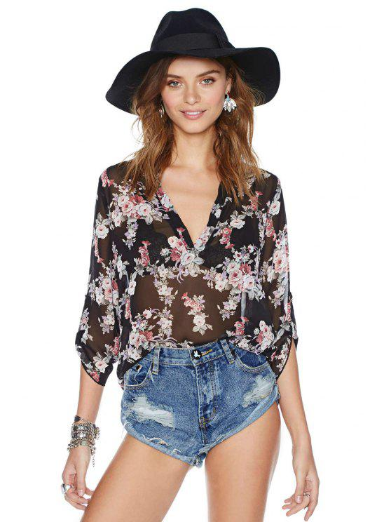 womens V-Neck Tiny Floral Blouse - BLACK S