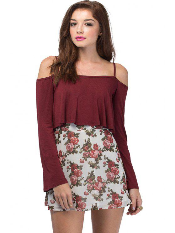 lady Spaghetti Straps Solid Color Crop Top - WINE RED S