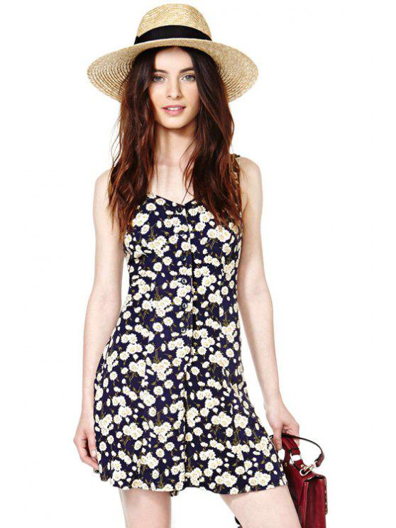 buy Daisy Print Backless Tie-Up Romper - COLORMIX XS