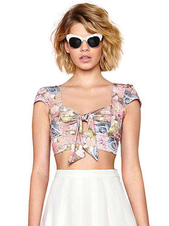 fancy Sweetheart Neckline Floral Print Tie-Up Tank Top - COLORMIX XS