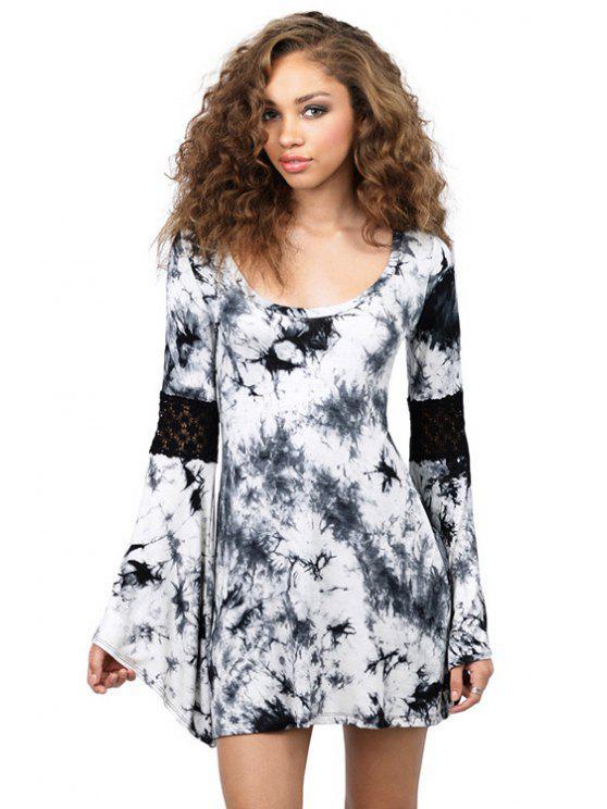 women's Print Lace Splicing Bell Sleeve Dress - BLACK L