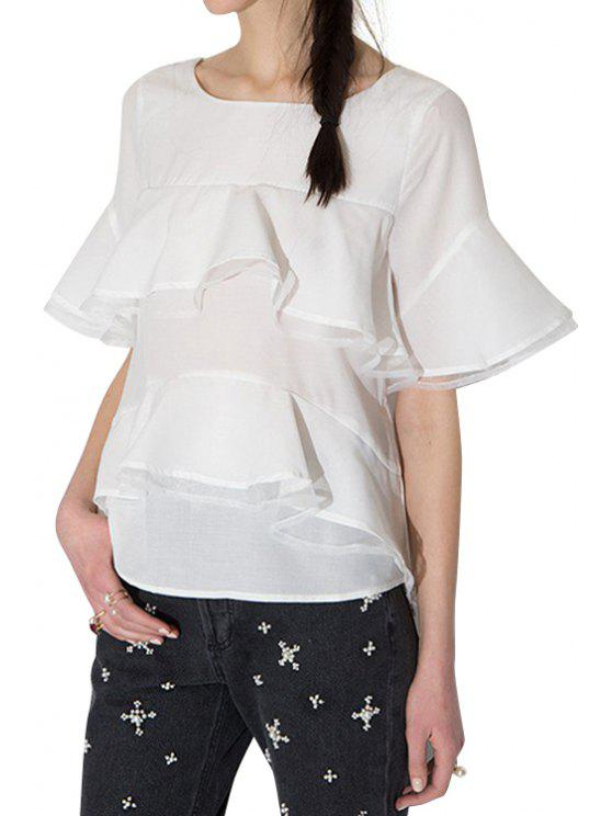 fancy Flounce Splicing Solid Color T-Shirt - WHITE XS