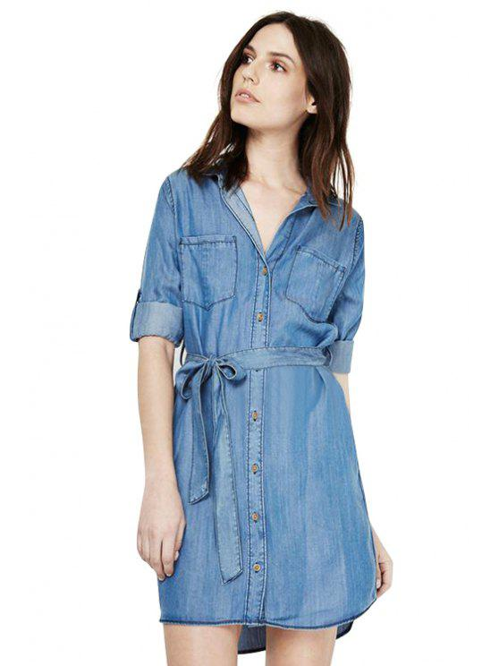 best Bleach Wash Belt Denim Dress - WATER BLUE XS