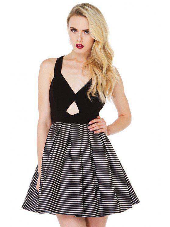 chic Back Bowknot Stripe Sleeveless Dress - STRIPE XS