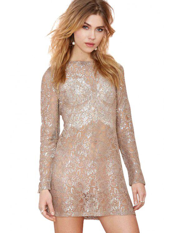 sale Lace Floral Pattern See-Through Dress - GOLDEN XL