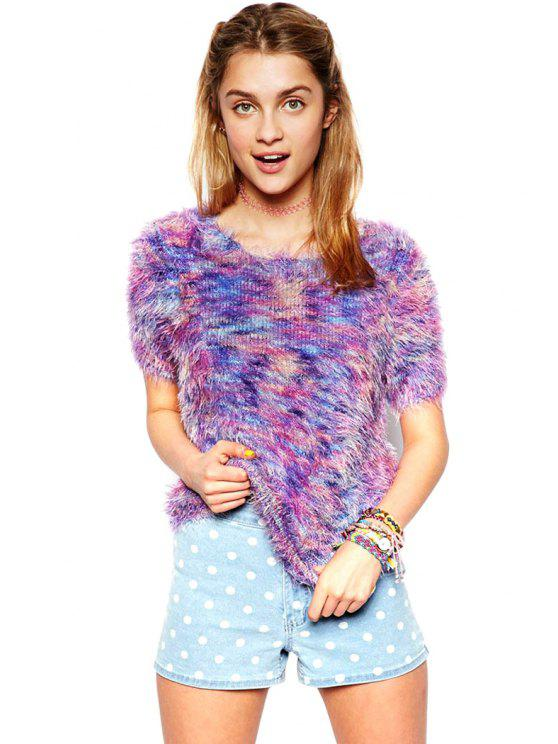 unique Colorful Short Sleeves Sweater - PURPLE S