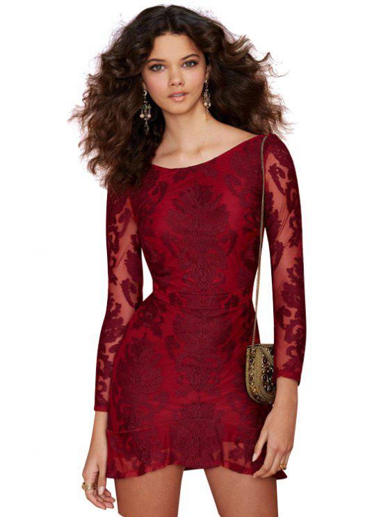 buy Solid Color Backless Lace Long Sleeve Dress - RED XS