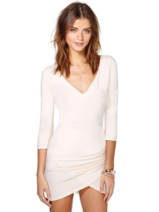 affordable Solid Color 3/4 Sleeves Bodycon Dress - NUDE S