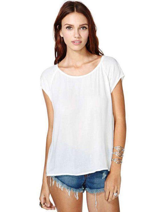 trendy White Backless Chiffon T-Shirt - WHITE S