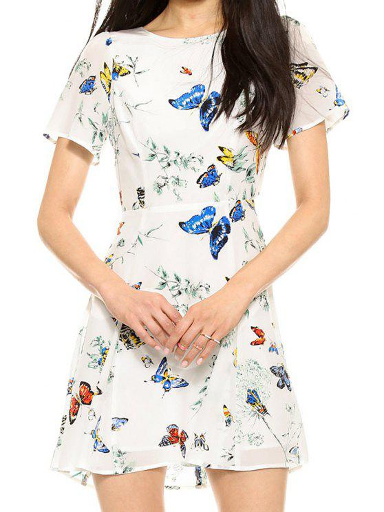ladies Butterfly Print Short Sleeve Dress - WHITE S