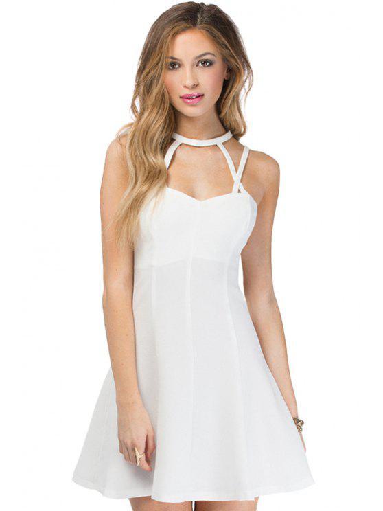shops White Spaghetti Straps A-Line Dress - WHITE S