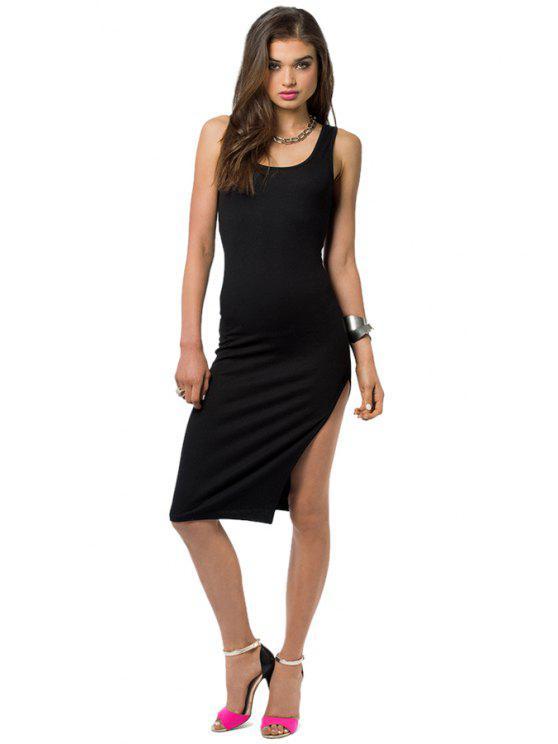 new Solid Color Side Slit Sundress - BLACK S