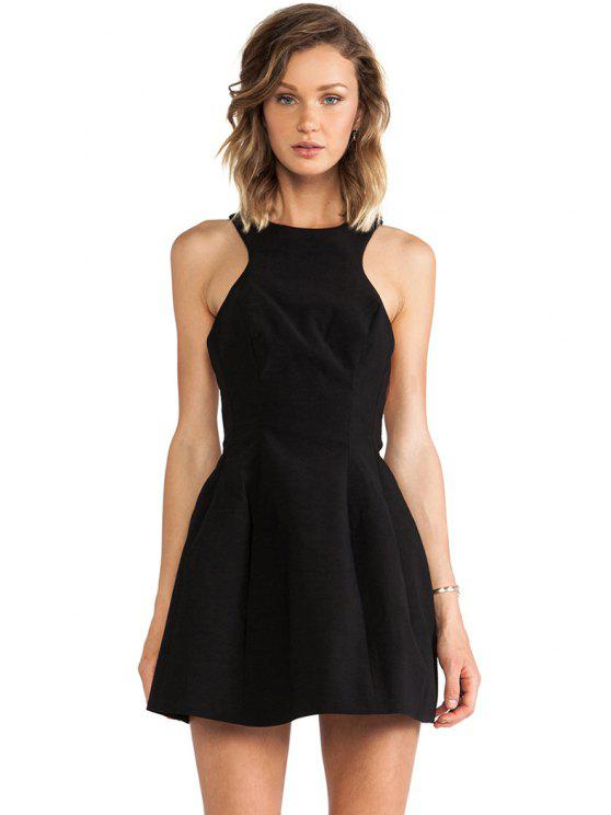 Robe couleur Backless A-ligne solide - Noir L