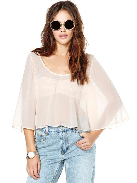 unique 3/4 Sleeve Solid Color Chiffon Blouse - PINK S