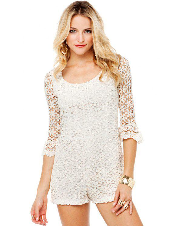 outfits Floral Pattern Lace Tie-Up Romper - WHITE XS