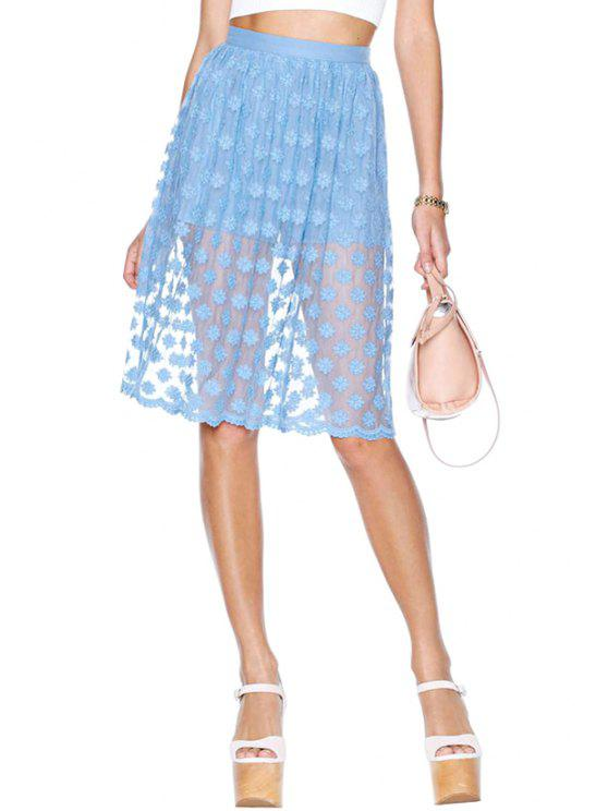 outfit Blue Embroidery Voile Skirt - BLUE S