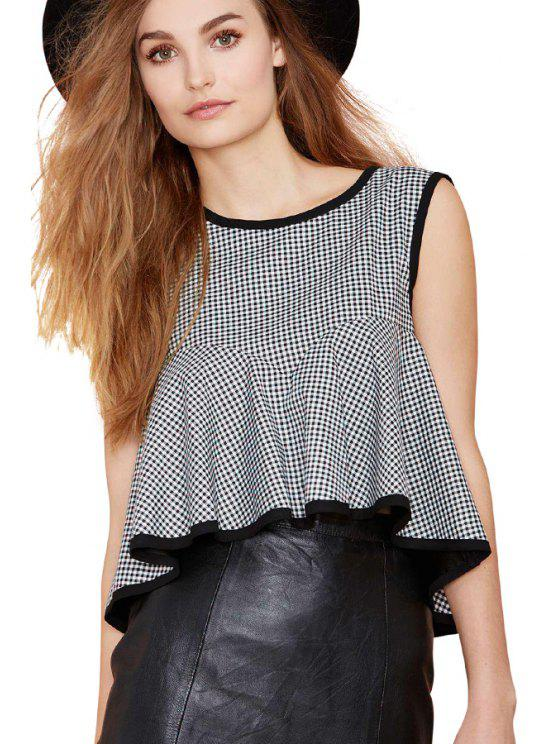 hot Checked Flouncing Splicing Tank Top - CHECKED S
