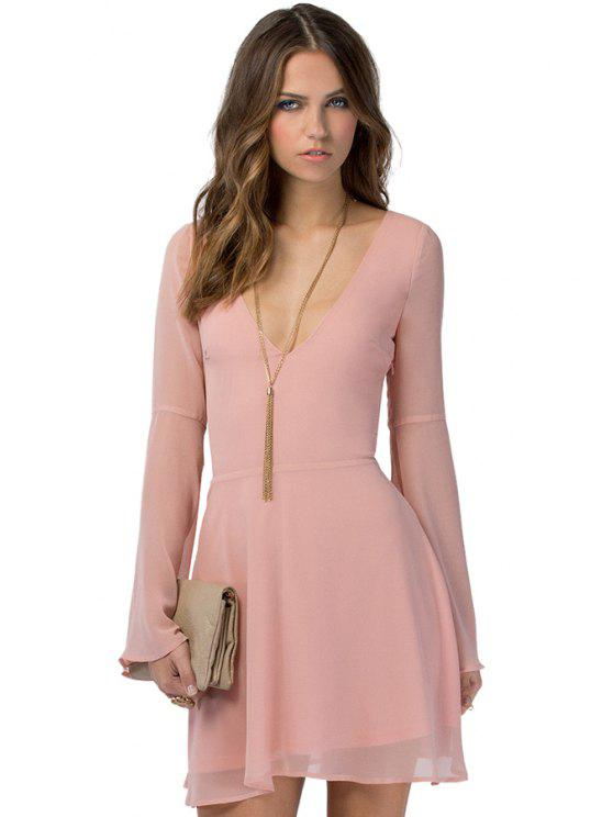 buy Solid Color Flare Sleeve Chiffon Dress - PINK S