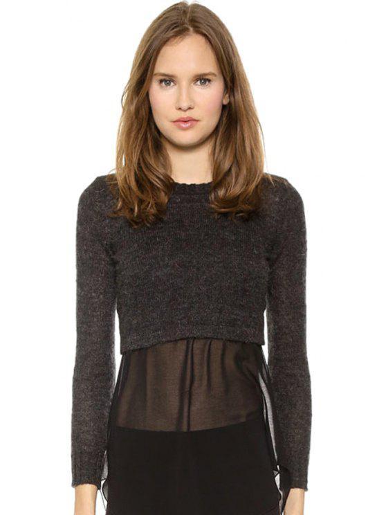 sale Long Sleeve Chiffon Splicing Sweater - DEEP GRAY S