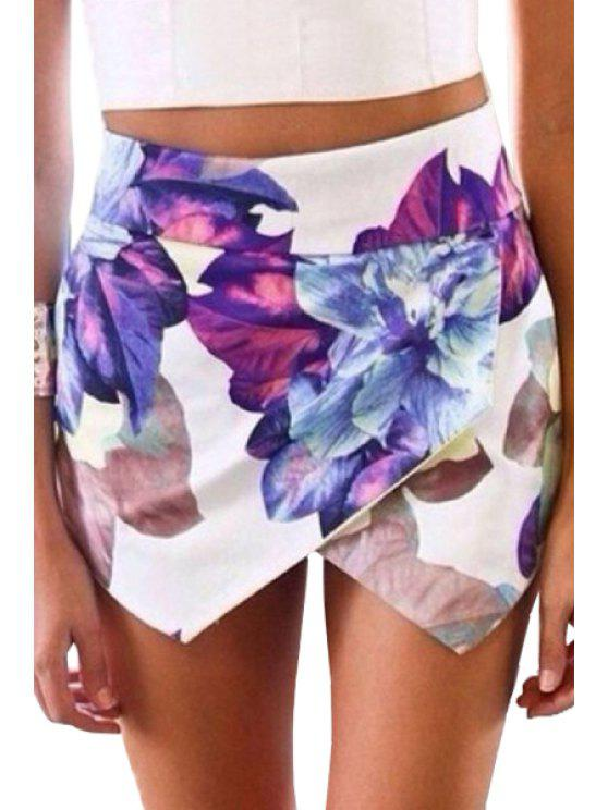 buy Floral Print Asymmetrical Shorts - WHITE S