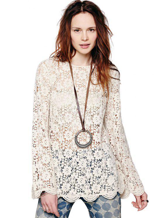 latest Crochet Hollow Long Sleeve Blouse - WHITE M