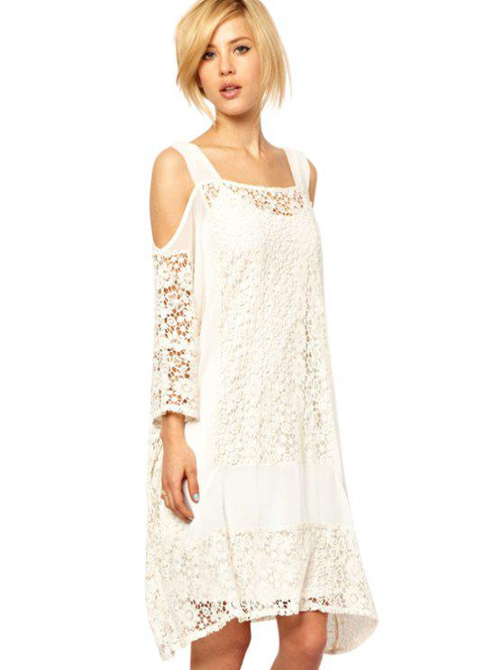 chic Straps Off-The-Shoulder Lace Dress - WHITE M