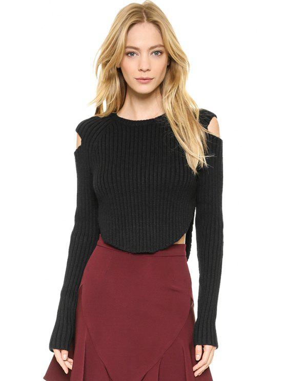 new Off-The-Shoulder Black Sweater - BLACK S