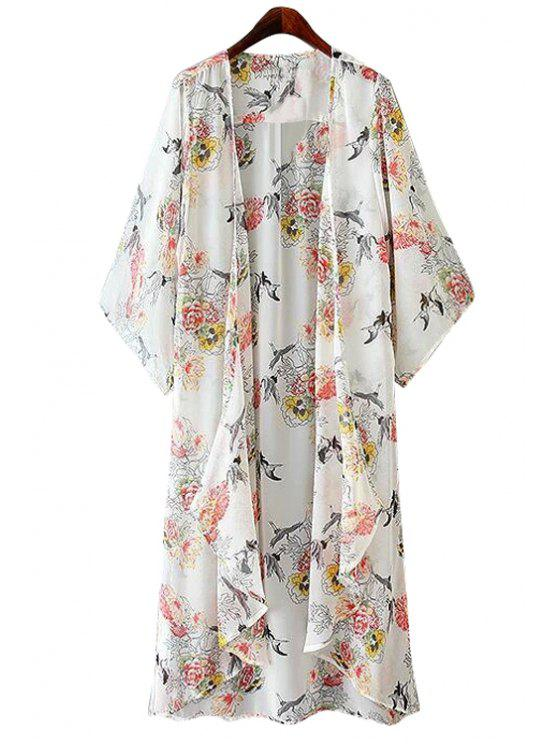 online Floral and Birds Print Coat - WHITE S