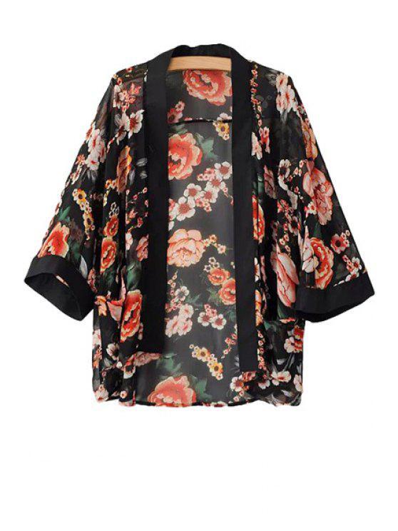 Floral Print 3/4 Sleeve Coat - Negro M
