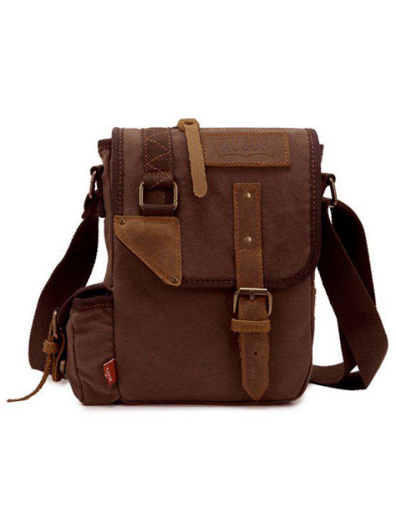 حقيبة الرسالة مطرز بالبرشام للرجال - قهوة