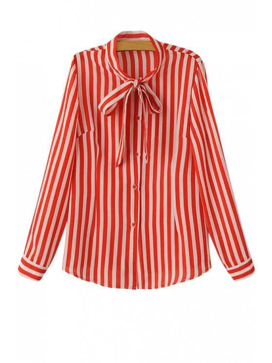 Shirt Stripe Tie-Up a maniche lunghe - Rosso S