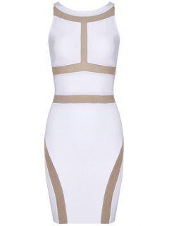 Color Block Sleeveless Bandage Dress - White L