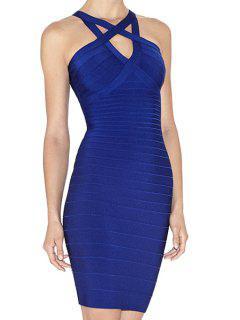Straps Blue Bandage Dress - Blue L