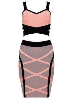Color Block Crop Top And Bandage Skirt Suit - L