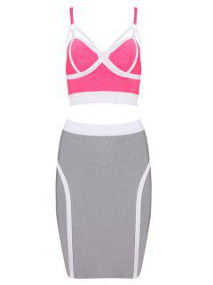 Straps Crop Top And Bandage Skirt Suit - Pink L