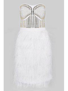 Feather Splicing Strapless Dress - White M
