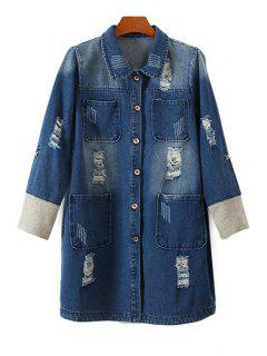 Bleach Wash Fray Denim Coat - Blue L