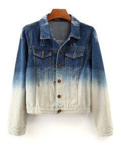 Ombre Denim Long Sleeve Coat - Blue And White S